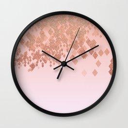 Light Salmon Pink Gradient Faux Glitter Diamonds Wall Clock
