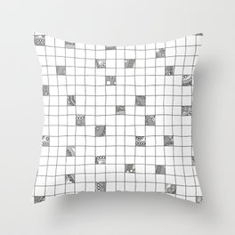 Abstract background with black and white crossword grid Throw Pillow