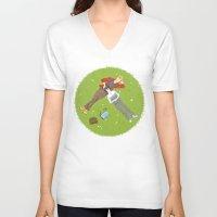 iwatobi V-neck T-shirts featuring Sunbathing by Le Piaf Bleu