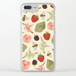 Hummingbirds in the Garden Pattern Clear iPhone Case