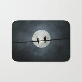 Two Crows In The Light Of A Silvery Moon Bath Mat