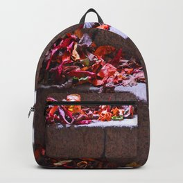 Red Leafs On Stairs Backpack