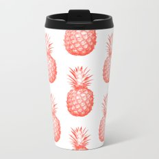 Coral Pineapple Metal Travel Mug