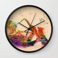 saxophone Wall Clocks featuring music saxophone by mark ashkenazi