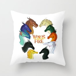 Wings Fire - All Together Throw Pillow