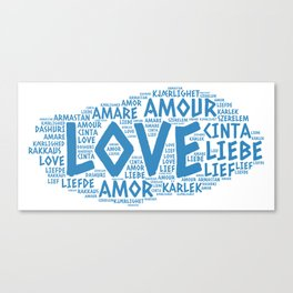 Cloud illustrated with Love Word of different languages Canvas Print