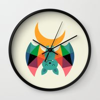 child Wall Clocks featuring Moon Child by Andy Westface