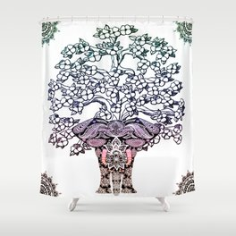 Indian Elephant Tree Of Life Shower Curtain