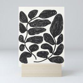 scribbled leaves in black on off white Mini Art Print