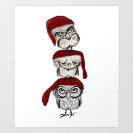 Christmas Owls Art Print
