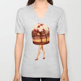 Cake Girl - Chocolate Raspberry Unisex V-Neck