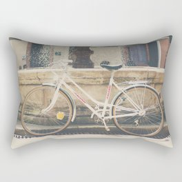 cycling across France on this pretty white bicycle Rectangular Pillow