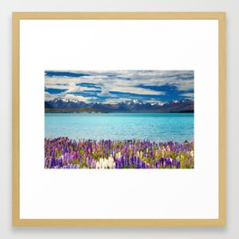 Landscape with Lupin Flowers Framed Art Print
