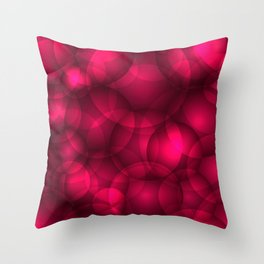 Glowing pink soap circles and volumetric glamorous bubbles of air and water. Throw Pillow