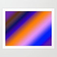 Orange & Blue Stripes Art Print