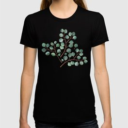 Simple Silver Dollar Eucalyptus Leaves on Navy T-shirt