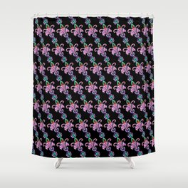 Lilac green flowers on black Shower Curtain