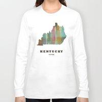 kentucky Long Sleeve T-shirts featuring Kentucky state map modern by bri.buckley