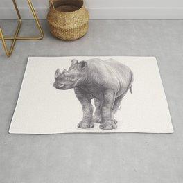 Rhinoceros - Big Wild Animal Artwork Drawing Rhino with Horn Rug