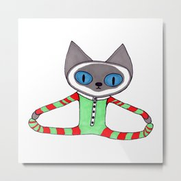 Cute Siamese Cat in his Red and Green Striped Christmas Pajamas Metal Print