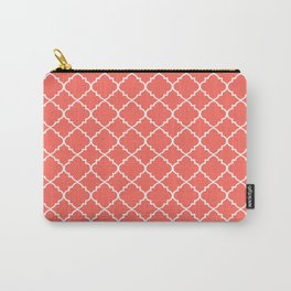 Coral Moroccan Quatrefoil Carry-All Pouch