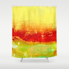 Vibrant Yellow Sunset Glow Textured Abstract Shower Curtain