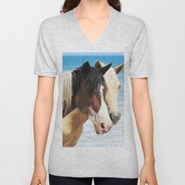 Watercolor Horse 44, Assateague Pony, Assateague, Maryland, Rapt Attention Unisex V-Neck