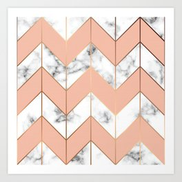 LUXE ROSE GOLD VECTOR ON BLACK AND WHITE MARBLE Art Print