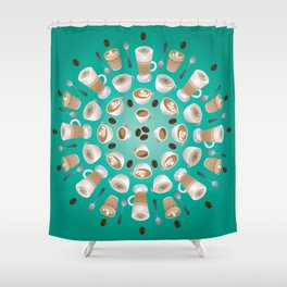 Coffee Kaleidoscope Shower Curtain