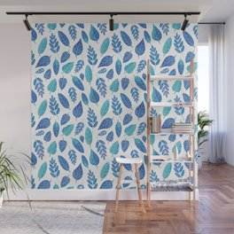 Blue Watercolour Leaves Pattern Wall Mural