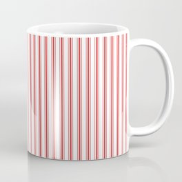 Mattress Ticking Narrow Striped Pattern in Red and White Coffee Mug