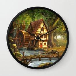 Little Watermill In Idyllic Forest Ultra HD Wall Clock