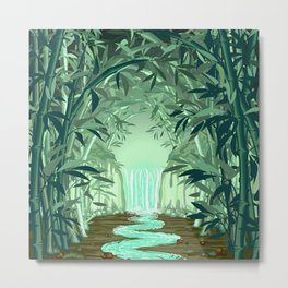 Fluorescent Waterfall on Surreal Bamboo Forest Metal Print