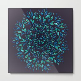 Blue Leaves Mandala Metal Print