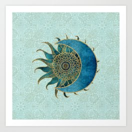 Sun And Moon Universe Celestial Art Gold And Turquoise Art Print