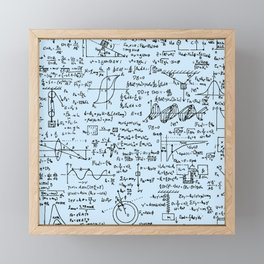 Physics Equations // Baby Blue Framed Mini Art Print