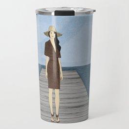 Woman on Dock Travel Mug