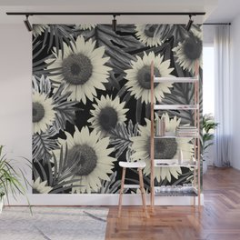 Tropical Sunflower Jungle Night Leaves Pattern #2 #tropical #decor #art #society6 Wall Mural