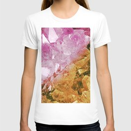 Pink & Gold Crystal Geode T-shirt
