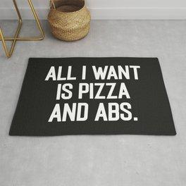 Pizza & Abs Funny Gym Saying Rug