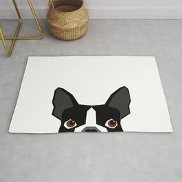 Boston Terrier head peeking cute dog gifts funny must haves boston terriers Rug