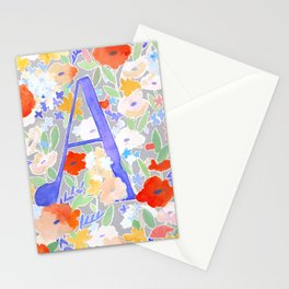 Watercolor Floral Poppy Monogram Letter A Stationery Cards