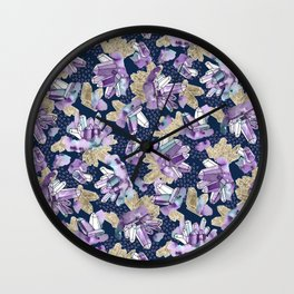 Amethyst Crystal Clusters / Violet, Blue and Gold Wall Clock