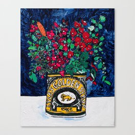 Wild Flowers in Golden Syrup Tin on Blue Canvas Print