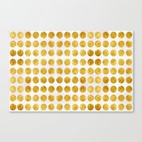 gold dots Canvas Prints featuring Gold Dots by MBJP BLACK LABEL