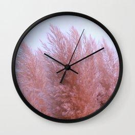 Pink Pampas Wall Clock
