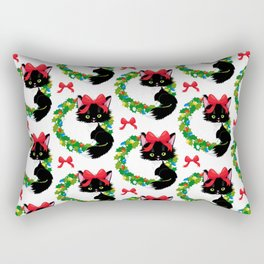 Christmas cat with flowers Rectangular Pillow