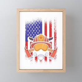 Firefighters America flag USA Framed Mini Art Print