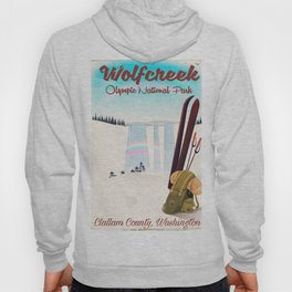 Wolf Creek Falls, Olympic National Park Travel poster Hoody