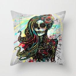 Vivid Muerte Throw Pillow